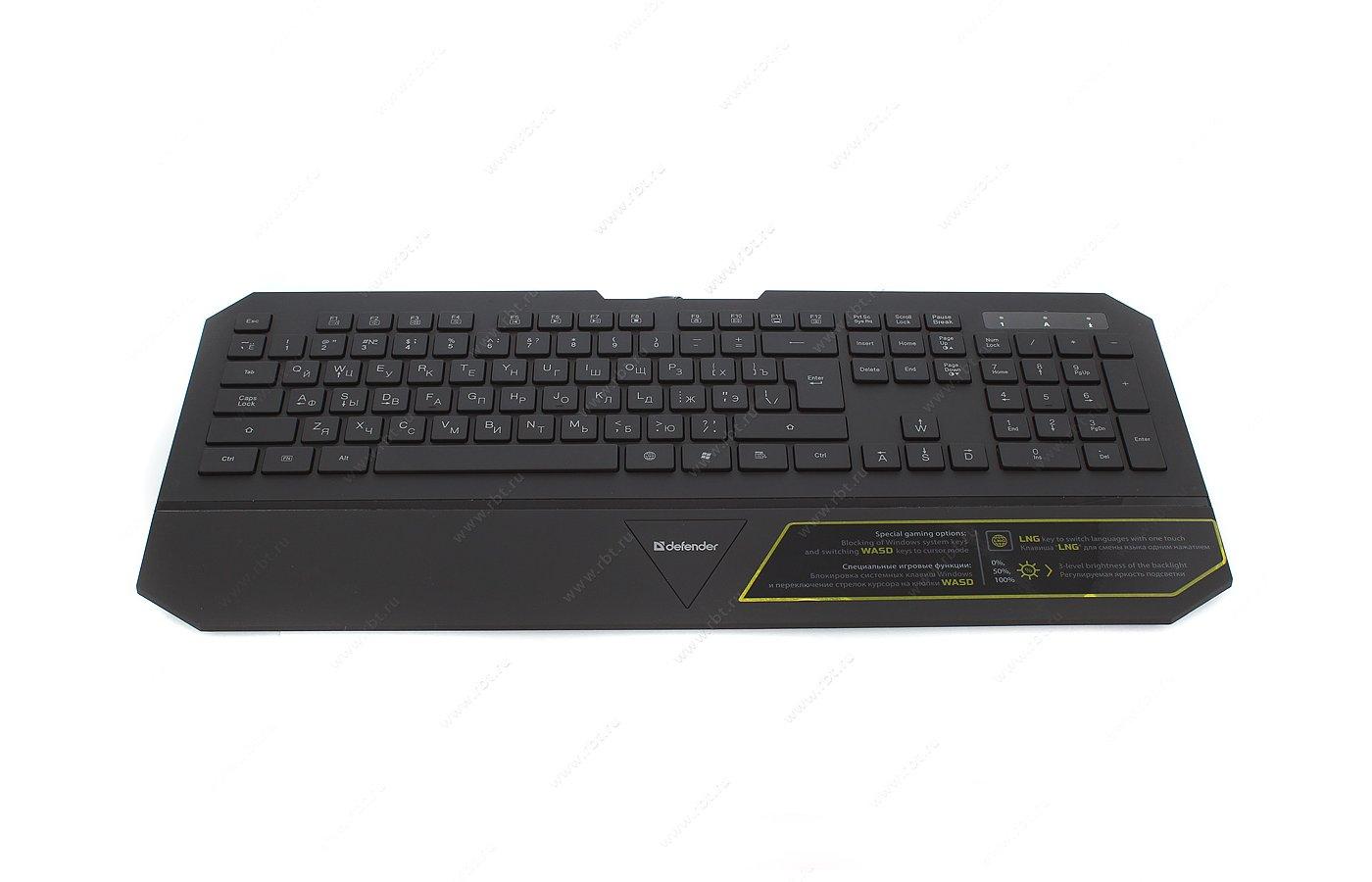 Клавиатура проводная Defender Oscar SM-660L Pro Black USB