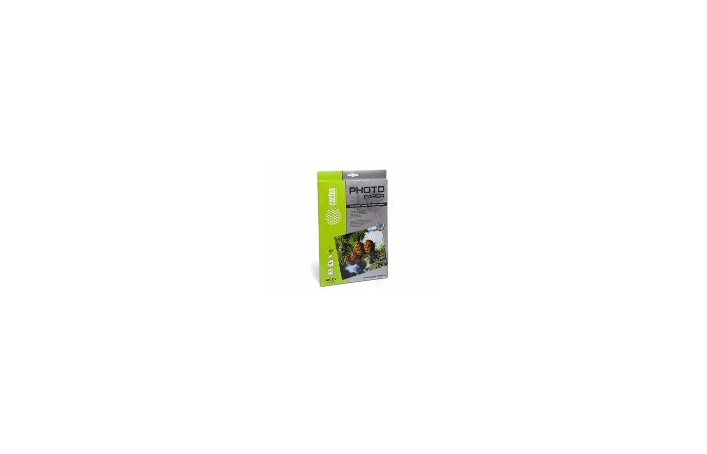 Фотобумага Cactus CS-GA323050 A3/230г/м2/50л./белый глянцевое для струйной печати