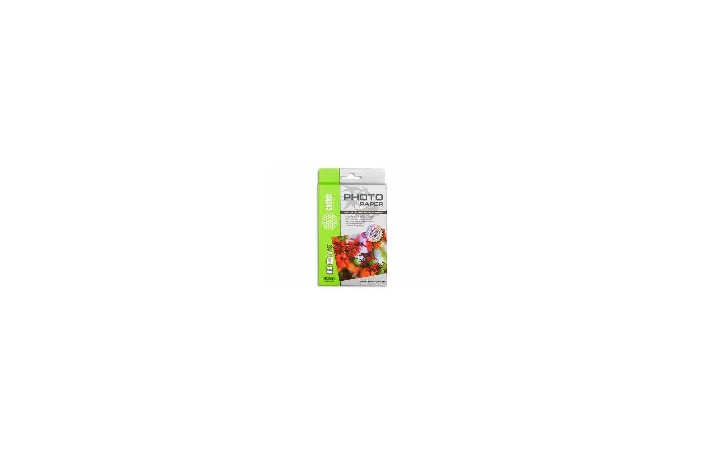 Фотобумага Cactus CS-GA6200100 A6/200г/м2/100л./белый глянцевое для струйной печати