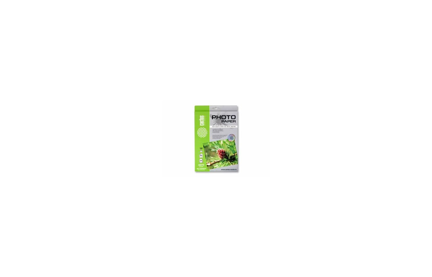 Фотобумага Cactus CS-MSA410020 A4/100г/м2/20л. матовое самоклей. для струйной печати