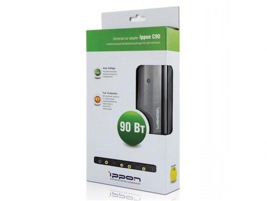 Сетевой адаптер для ноутбука Ippon С90 автоматический 90W 15V-19.5V 10-connectors от прикуривателя LED индикатор