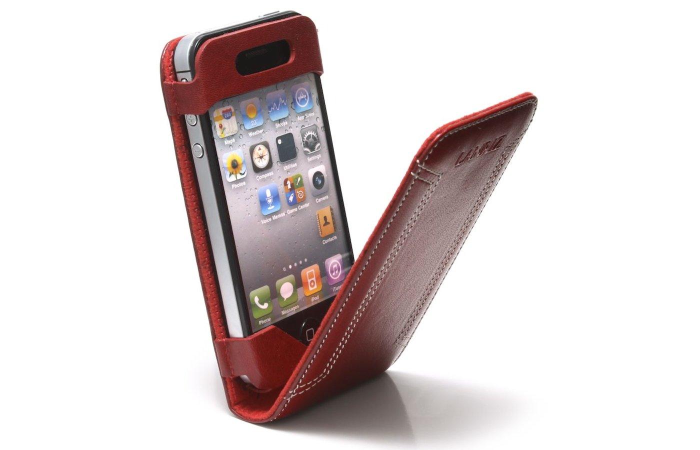 Чехол Lanriz Magnet Flipper для iPhone 4/4S кожа красный (LIPHONE4MFRD)