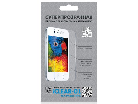 Стекло DF пленка для iPhone 4/4S (iClear-01) суперпрозрачная