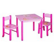 Бюрократ KIDSET-01/PRINC Стол детский +2 стула столешница МДФ розовый