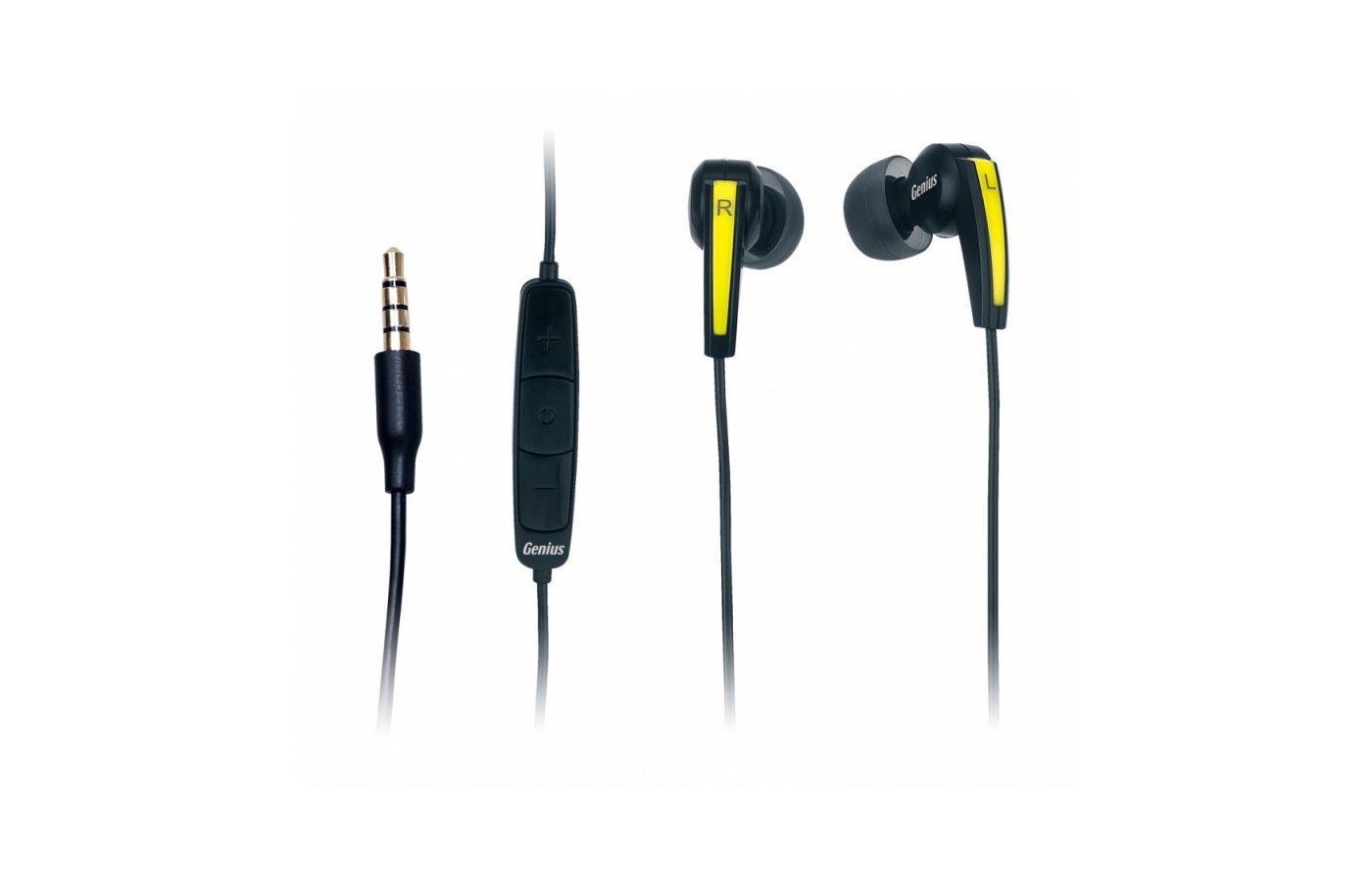 Наушники с микрофоном проводные Genius HS-i220 черный 1.2м