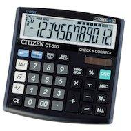 Фото Калькулятор Citizen CT-500J 12 разрядов черный двойное питание проверка коррекция наценка