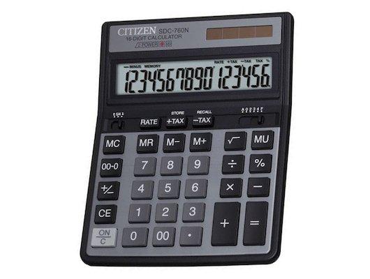 Калькулятор Citizen SDC-760N 16 разрядов черный двойное питание две памяти налог