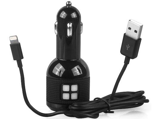 Зарядное устройство QUMO АЗУ 2хUSB 2.4A + кабель Lightning MFI 8-pin