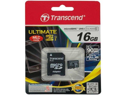 Карта памяти Transcend microSDHC 16Gb Class 10 + адаптер (TS16GUSDHC10U1)