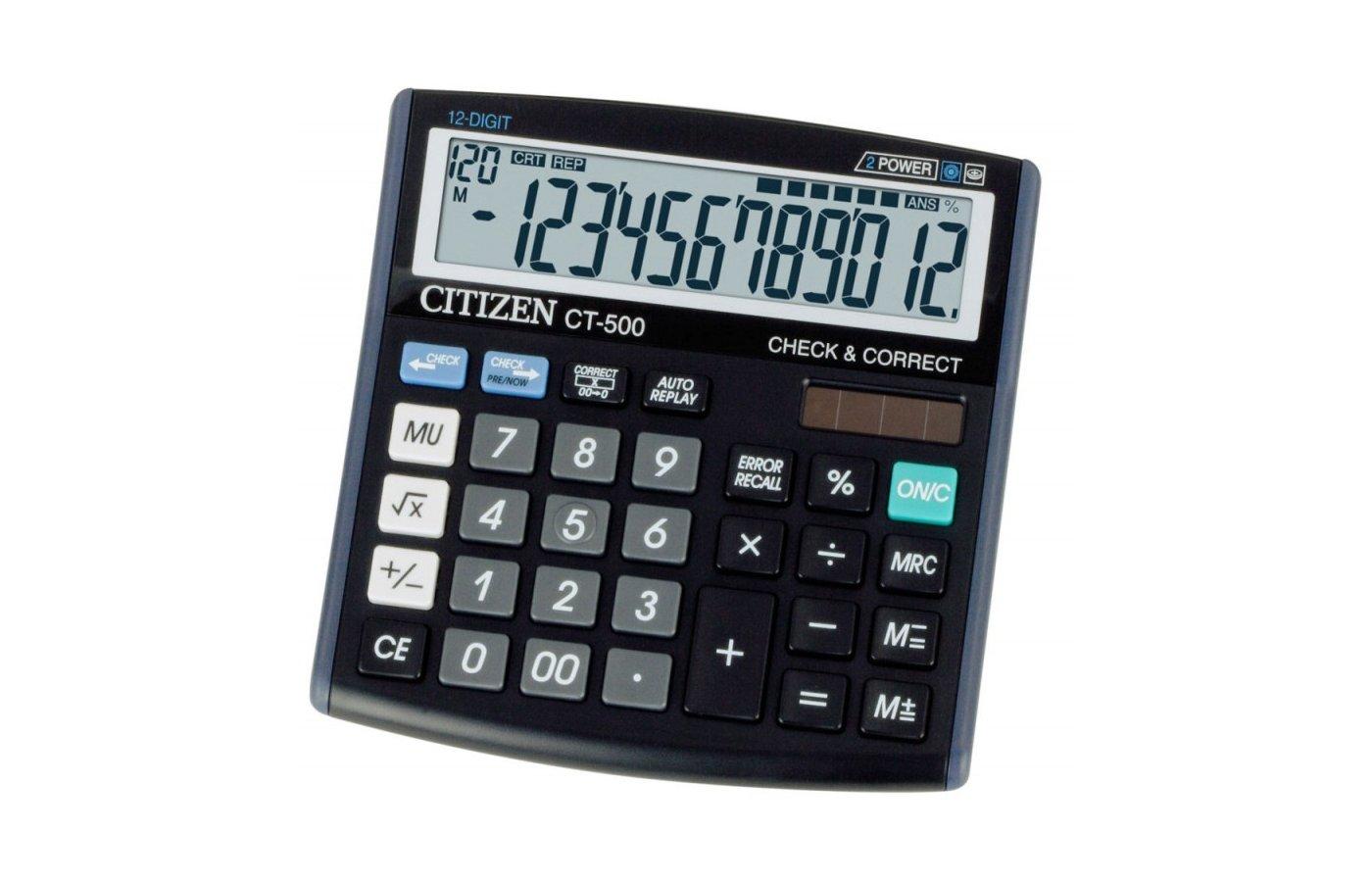 Калькулятор Citizen CT-500J 12 разрядов черный двойное питание проверка коррекция наценка