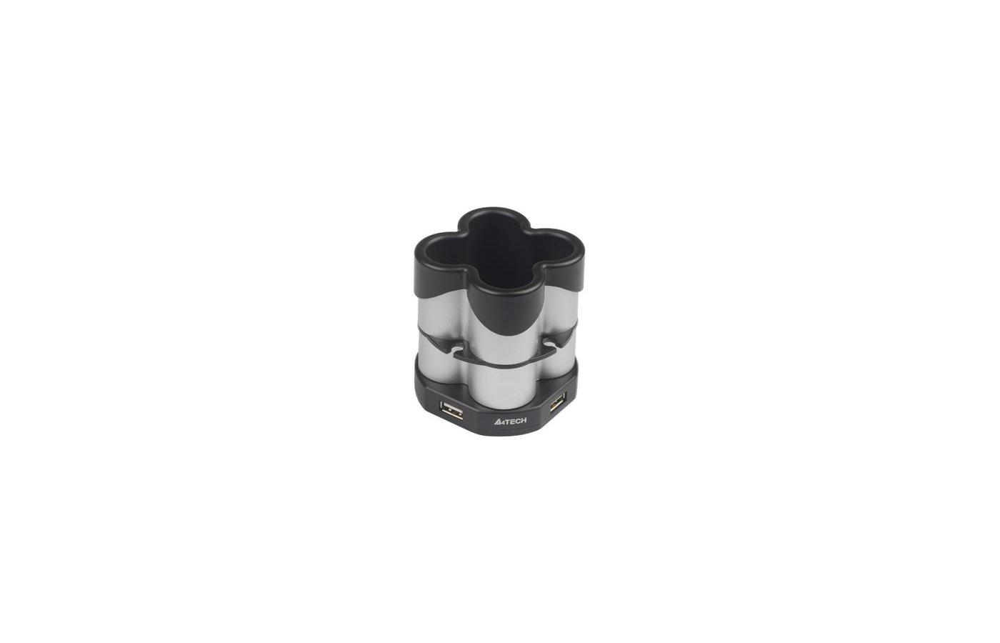 Разветвитель A4 HUB-77 silver/black (подставка для ручек) USB 2.0