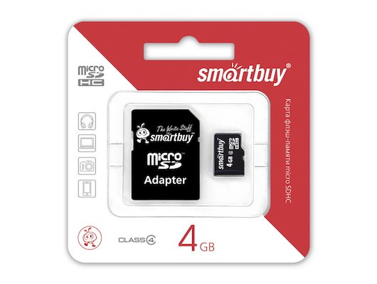 Карта памяти SmartBuy microSDHC 4Gb Class 4 + адаптер