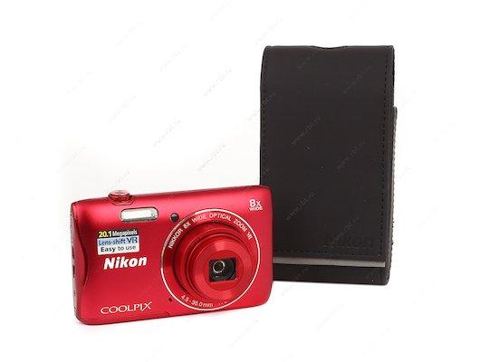 Фотоаппарат компактный Nikon Coolpix S3700 red + 8Gb + case
