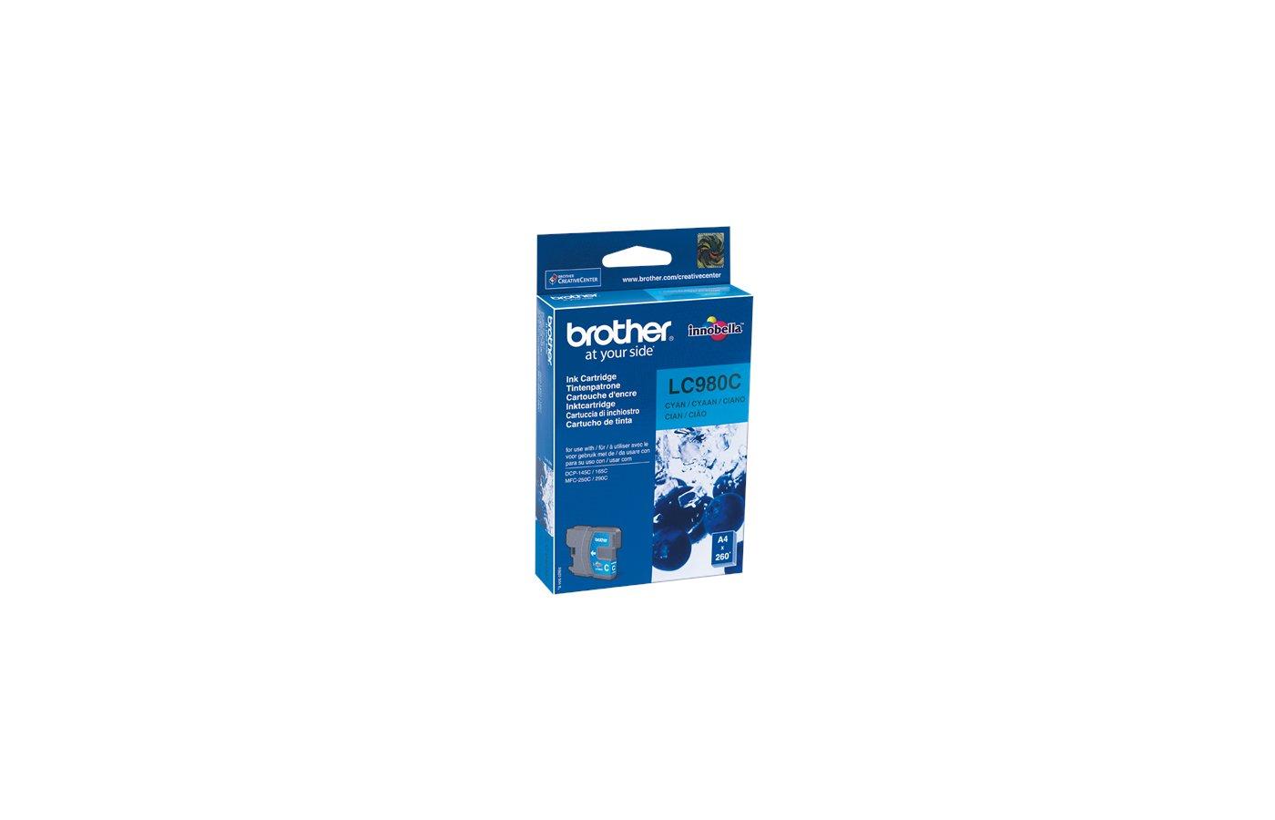 Картридж струйный Brother LC980 голубой для DCP-145C, DCP-165C, DCP-195C, DCP-375CW (260 стр.)
