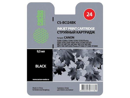 Картридж струйный Cactus CS-BCI24BK совместимый черный для Canon S200 S200x S300 S330 i250 i320 i350 (9,2ml)