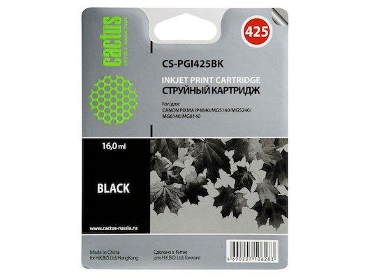 Картридж струйный Cactus CS-PGI425BK совместимый черный для Canon Pixma iP4840/MG5140/5240/6140 (16ml)