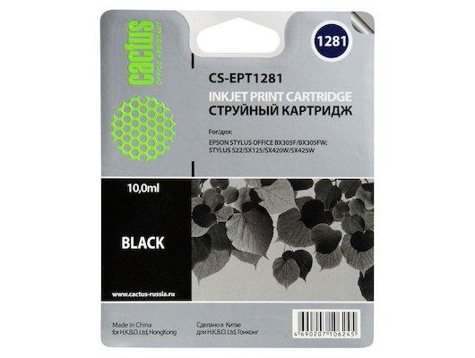 Картридж струйный Cactus CS-EPT1281 совместимый черный для Epson Stylus S22/SX125/SX420/SX425 (10ml)