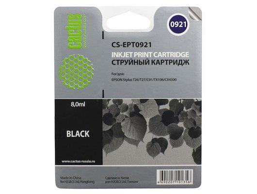 Картридж струйный Cactus CS-EPT0921 совместимый черный для Epson Stylus C91/ CX4300/ T26/ T27/ TX106 (8ml)