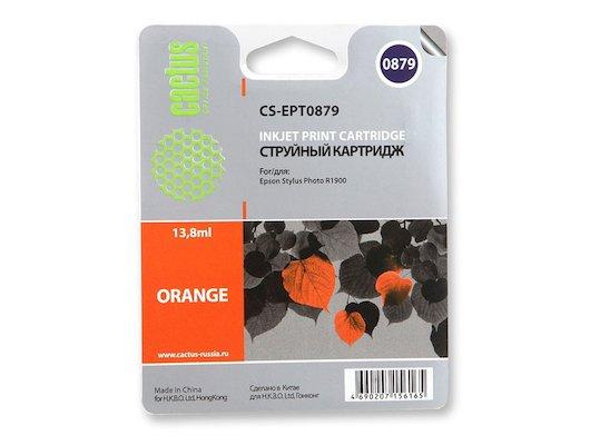 Картридж струйный Cactus CS-EPT0879 совместимый оранжевый для Epson Stylus Photo R1900 (13,8ml)
