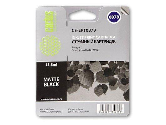 Картридж струйный Cactus CS-EPT0878 совместимый черный матовый для Epson Stylus Photo R1900 (13,8ml)