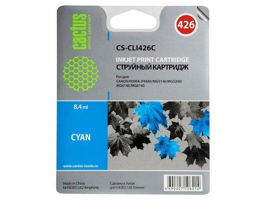 Картридж струйный Cactus CS-CLI426C совместимый голубой для Canon MG5140 5240 6140 8140 MX884 (8,2ml)