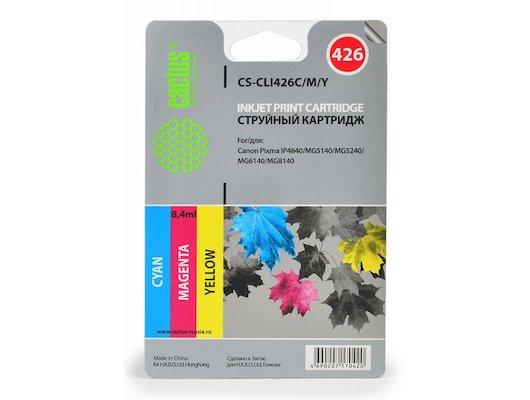 Картридж струйный Cactus CS-CLI426C/M/Y совместимый многоцветный для Canon Pixma MG5140/5240 (8,2ml) Комплект цветных