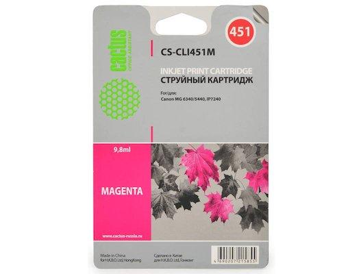 Картридж струйный Cactus CS-CLI451M совместимый пурпурный для Canon MG 6340/5440/IP7240 (9,8ml)