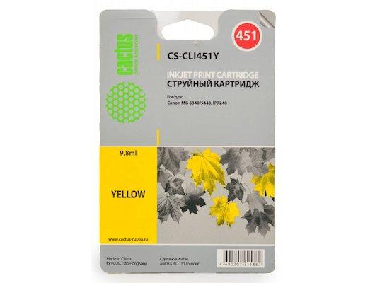 Картридж струйный Cactus CS-CLI451Y совместимый желтый для Canon MG 6340/5440/IP7240 (9,8ml)