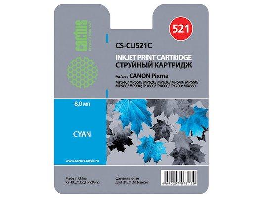Картридж струйный Cactus CS-CLI521C совместимый голубой для Canon MP540, MP550, MP620, MP630, MP640, MP660 (446стр.)
