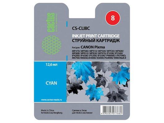 Картридж струйный Cactus CS-CLI8C совместимый голубой для Canon MP470/MP500/MP510/MP520 (12ml)