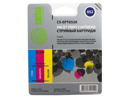 Картридж струйный Cactus CS-EPT0520 совместимый цветной для Epson Stylus Color 400/ 440/ 460/ 600/ 640 (8*3ml)