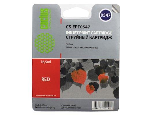 Картридж струйный Cactus CS-EPT0547 совместимый красный для Epson Stylus Photo R800/ R1800 (16,2ml)