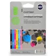 Фото Картридж струйный Cactus CS-EPT0807 совместимый многоцветный для Epson Stylus Photo P50 (11,4ml) Комплект 6 картриджей