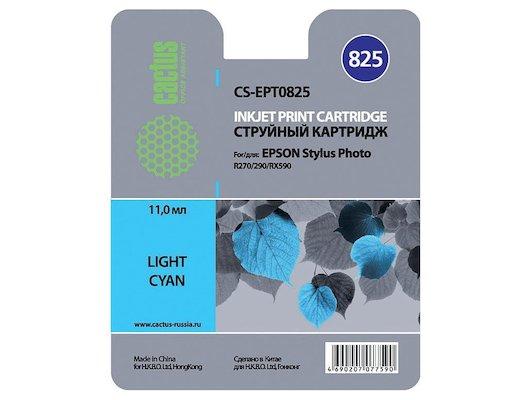 Картридж струйный Cactus CS-EPT0825 совместимый светло-голубой для Epson Stylus Photo R270/290/RX590 (11,4ml)