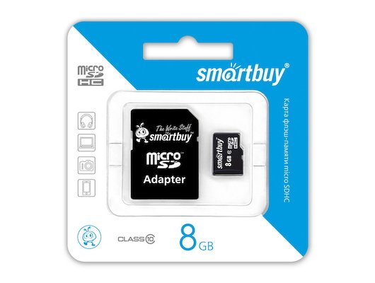 Карта памяти SmartBuy microSDHC 8Gb Class 10 + адаптер