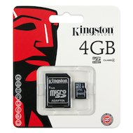 Карта памяти Kingston microSDHC 4Gb Class 4 + адаптер (SDC4/4GB)