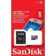 Фото Карта памяти SanDisk microSDHC 8Gb Class 4 + адаптер (SDSDQM-008G-B35A)