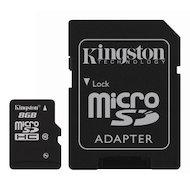 Фото Карта памяти Kingston microSDHC 8Gb Class 10 + адаптер (SDC10/8GB)
