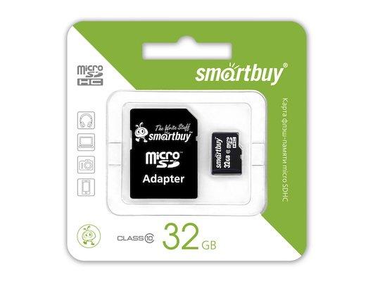 Карта памяти SmartBuy microSDHC 32Gb Class 10 + адаптер