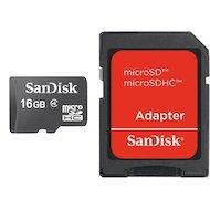 Карта памяти SanDisk microSDHC 16Gb Class 4 + адаптер (SDSDQM-016G-B35A)