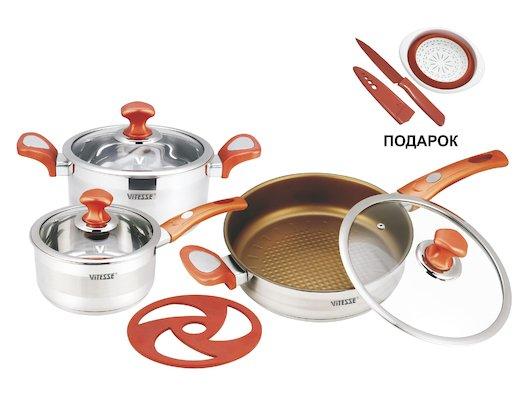 Набор посуды  VITESSE VS-2024 Набор посуды 7 пр н/ст старая модель