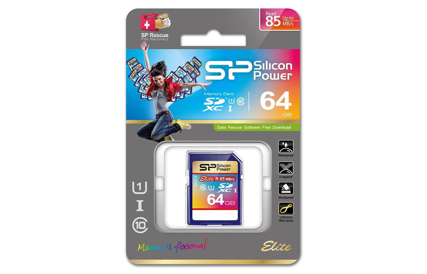Карта памяти Silicon Power SDXC 64Gb Class 10 (SP064GBSDXAU1V10)