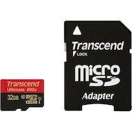 Фото Карта памяти Transcend microSDHC 32Gb Class 10 + адаптер (TS32GUSDHC10U1)