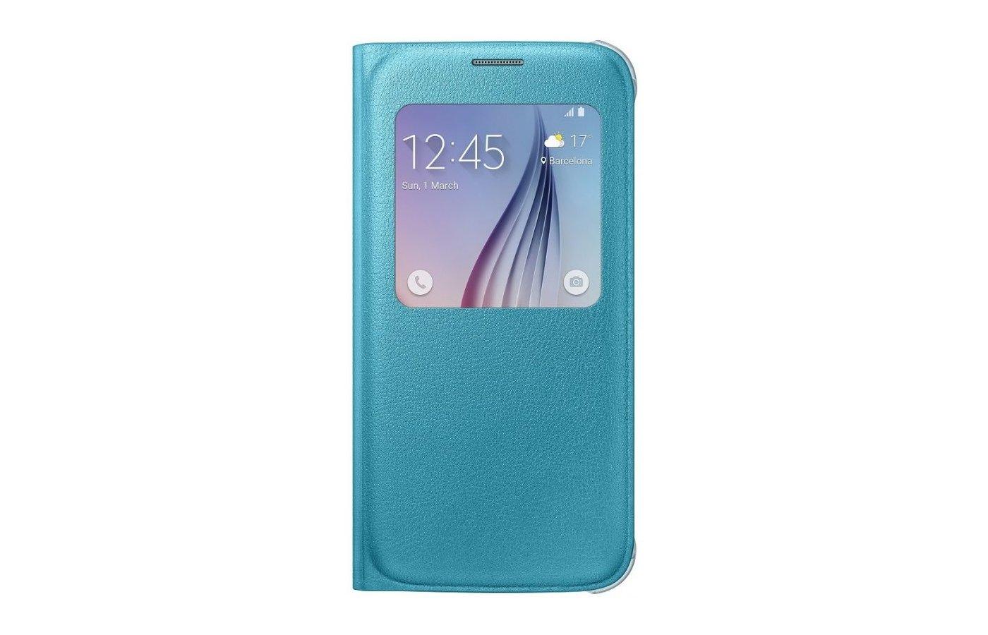 Чехол Samsung S-View для Galaxy S6 (SM-G920) (EF-CG920PLEGRU) голубой