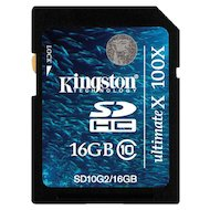 Карта памяти Kingston SDHC 16Gb Class 10 UHS-I 45MB/s (SD10VG2/16GB)
