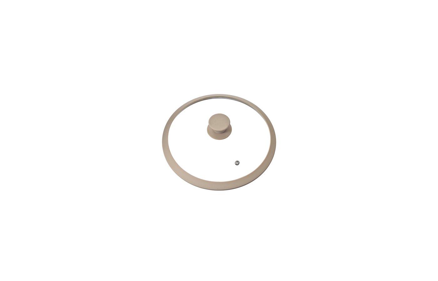 крышка до 26 см SATOSHI 848-012 Крышка стеклянная 26см с силиконовым ободом + ручка бежевый цв.