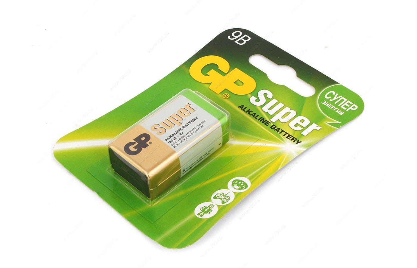 Батарейка GP Super Крона 9V 1шт. 6LR61 (1604A-5CR1)