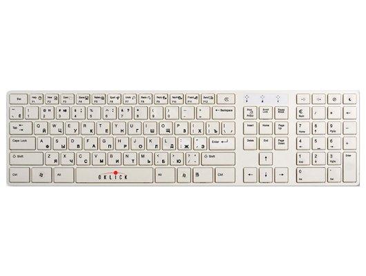 Клавиатура проводная Oklick 555S белый USB slim Multimedia