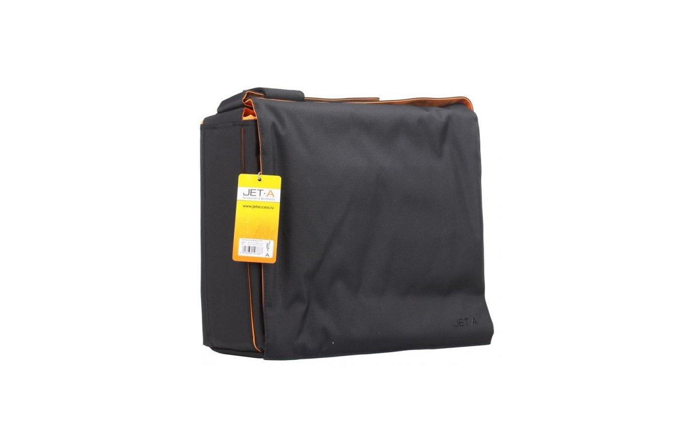 Кейс для ноутбука Jet.A LB15-12 до 15,6 (Черный/оранжевый, качественный Gucci-нейлон, ремень с изменением длины, SIZE