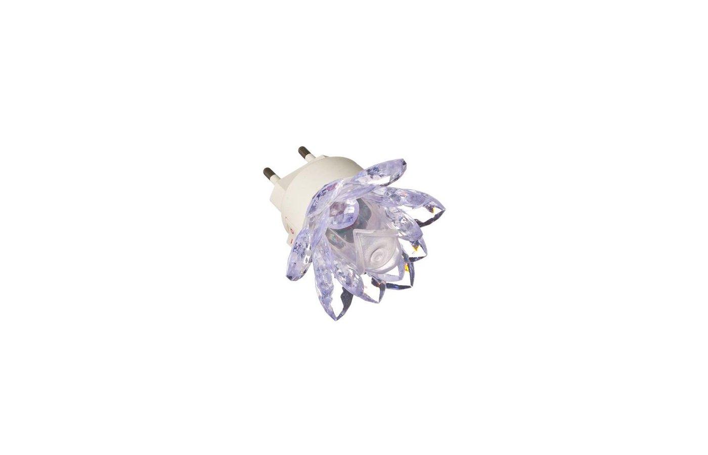 Декоративный светильник 920-033 Светильник-ночник в розетку Лилия с переключателем 0.2Вт пластик металл 7х7см